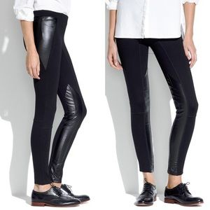 Madewell Black Ponte Knit Pants with Faux Leather